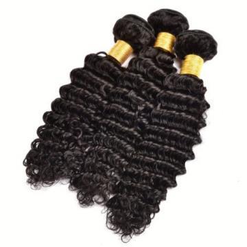 3 Bundle 300g Brazilian Virgin Hair Deep Wave Human Hair Extension Natural Black