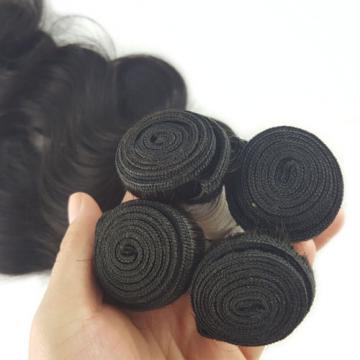 8A 4*4 Body Wave Lace Closure With Brazilian Virgin Hair Bundles 3 Bundles 150g