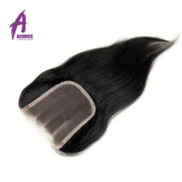 Straight Brazilian Virgin Hair  Remy Human Hair Weave with Closure 4 Bundles 7a