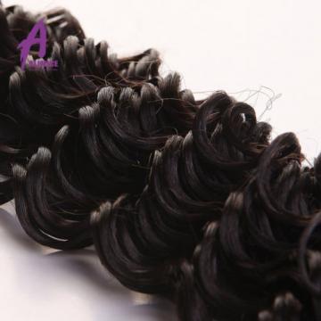 3 Bundles Deep Wave Brazilian Virgin Human Hair With 360 Lace Frontal Closure 8A