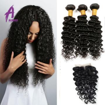 3 Bundles Deep Wave With 4*4 Lace Closure Brazilian Virgin Human Hair Bundles 8A