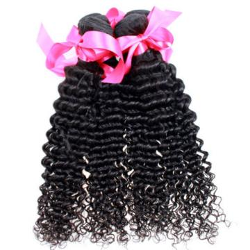 New 3 Bundle Deep Weave Curly Brazilian Virgin Human Hair Extension Weaving Weft