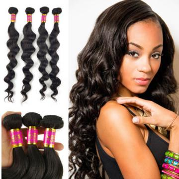 200g  4 Bundles 100% Brazilian Loose Wave Virgin Hair Weft Hair Bundles Weft 8A