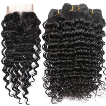 3 Bundles 100% Brazilian Virgin Human Hair Deep Curly Wave And Lace Closure 4*4