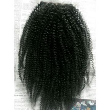 brazilian natural black Human virgin hair kinky coarse lace closure 4*4 inch