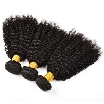 3 Bundles Brazilian Virgin Hair Kinky Curly Human Hair Extensions Natural Black