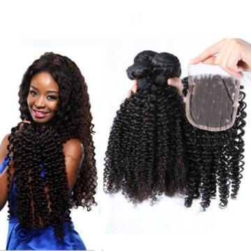 SALE Brazilian Human Virgin Hair Kinky Curly 4*4 Lace Closure with 3 Bundles 18""