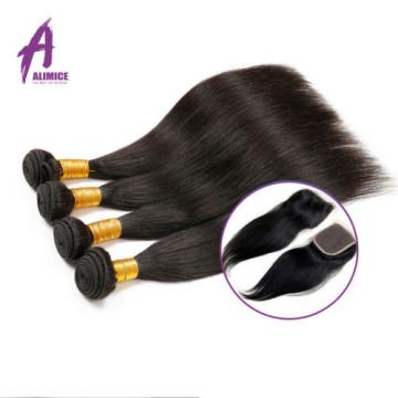 US Stock 4 Bundles Brazilian Virgin Straight Human Hair With 4*4 Lace Closure 8A