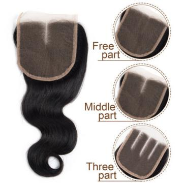 Brazilian Virgin Hair 3 Bundles Body Wave Human Hair Weft with 1 pc Lace Closure