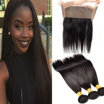 Straight Weave 360 Lace Closure with 3 Bundles Brazilian Virgin Human Hair Weft