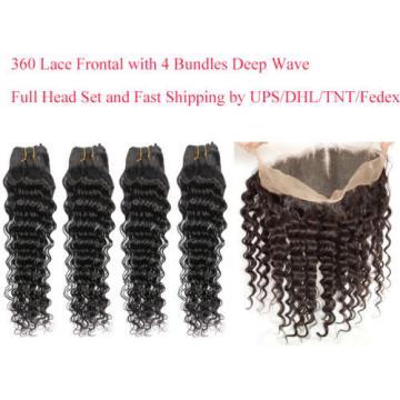 Brazilian Virgin Human Hair Deep Wave 360 Lace Frontal Closure With 4 Bundles