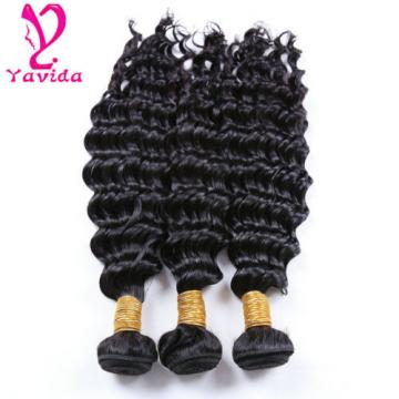 300g/3 Bundles 7A Brazilian Virgin Deep Wave Wavy Curly Human Hair Extensions