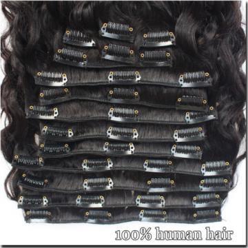 120g/8pcs 7A Brazilian Water Wave Human Hair Extensions Wave Virgin Clip In Hair