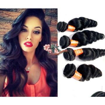 4 Bundles Brazilian Loose Wave Hair Weft 100% Virgin Human Hair Extensions Weave