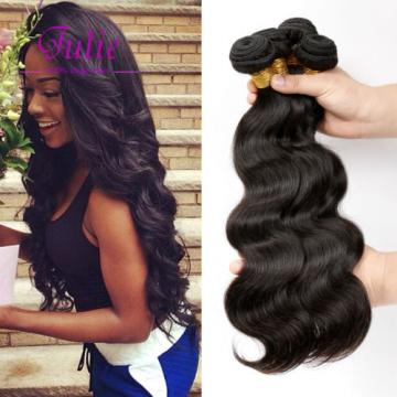 Virgin Brazilian Body Wave Human Hair Extensions 4 Bundles with Lace Closure