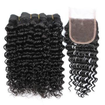 3 Bundles 100% Brazilian Virgin Human Hair Deep Curly Wave And Lace Closure 4*4