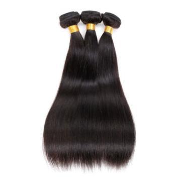 3Bundles Virgin Brazilian Human Hair 100% Real Straight Silky Natural Black Hair