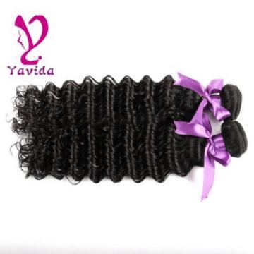 7A 100% Unprocessed Virgin Brazilian Deep Wave Hair Natural Black 2 Bundle/200g