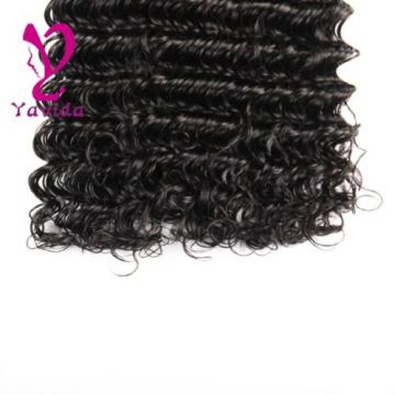 7A 100% Unprocessed Virgin Brazilian Deep Wave Hair Natural Black 2 Bundle/200g