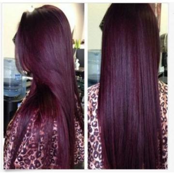 3 Bundles Red Wine Burgundy 99J Brazilian Virgin Straight Human Hair Weave Weft