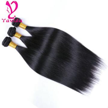 100% Unprocessed Virgin Brazilian Straight Human Hair Extensions Weave 3 Bundles