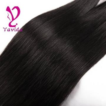 7A 100% Virgin Human Hair Weave 3 Bundles Brazilian Straight Hair Weft 300g #1B
