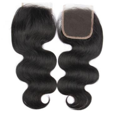 "Brazilian virgin hair 4*4 closure body wave free part human hair lace closure18"""