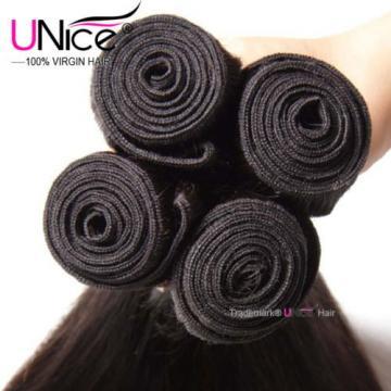 "8""~30"" Brazilian Virgin Hair Straight UNice Brazilian Human Hair Weave 4 Bundles"