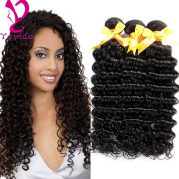 Unprocessed Brazilian Virgin Deep Curly Wave Human Hair Weft Weave 4Bundles/400g