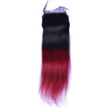 Ombre Brazilian Virgin Human Hair Straight hair Extension Lace Closure 1b/bug