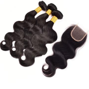 Body Wave Human Hair Extension 3 Bundles Brazilian Virgin Hair with 1 pc Closure