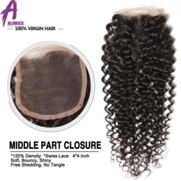 lace closure Brazilian Virgin Hair Curly Wave 4*4 Free Part/Middle/ Three Part