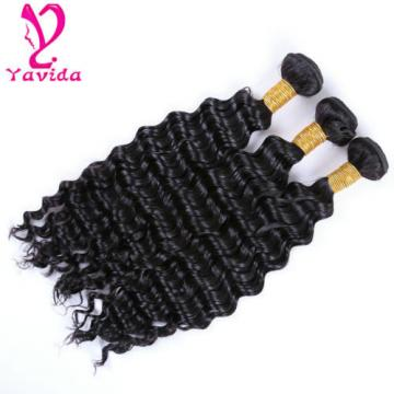 300g Brazilian Virgin Deep Wavy Hair 100% Human Hair Extensions Weft 3 Bundles