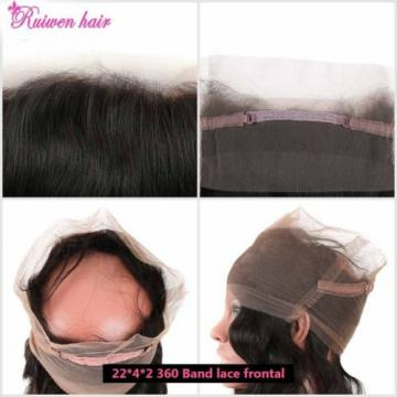 Body Wave Brazilian Virgin Human Hair Weft 360 Lace Frontal Closure 8A