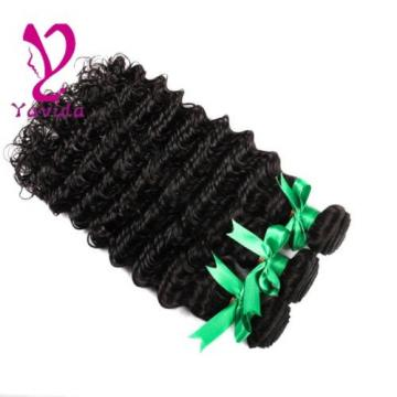 Natural Black Brazilian Virgin Hair Deep Wave Human Hair Extension 3 Bundle 300g