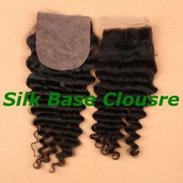 Brazilian Unprocessed Human Baby Virgin Hair 4*4 Deep Wave Silk Base Closure 1b