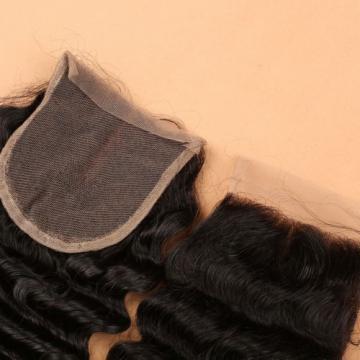 7A 4*4 Lace Closure 100% Brazilian Baby Virgin Human Hair Deep Wave 1b Color
