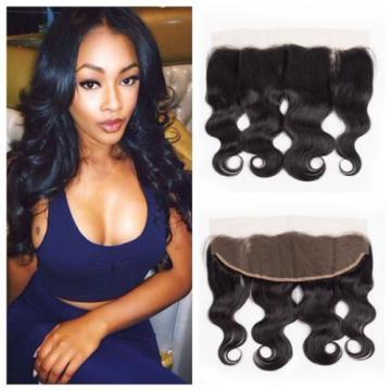Brazilian Virgin Human Hair Body Wave 13*4 Lace Frontal Closure Natural Black