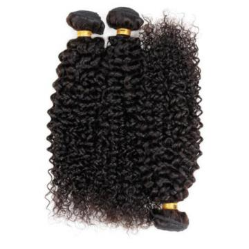 "Virgin 100% Brazilian Kinky Curly Hair Weave Human Hair Extension 3 Bundle 16""x3"