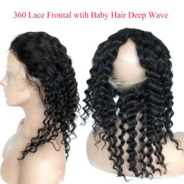 360 Lace Frontal with Bundles Deep Wave Brazilian Virgin Remy Hair with Closure
