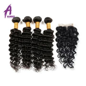 4Bundles Human Hair and  4*4 Closure Brazilian Virgin Hair Deep Curly Wave Hair