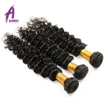 Deep Wave Brazilian Virgin Human Hair Extensions Weave 3 Bundles/300g Curly 7A