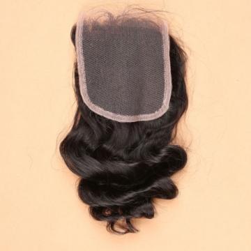 7A 4*4 Top Lace Closure 100% Brazilian Human Baby Virgin Hair Loose Wave 1b