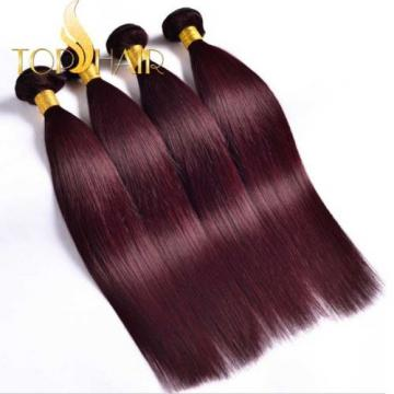 Virgin Brazilian Straight Bundle hair Remy Human Hair Weft Ombre color 99j#
