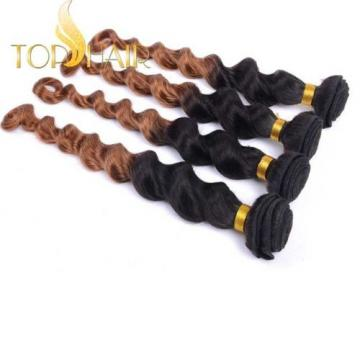 100% virgin Brazilian remy Hair Ombre color 1b/30 3Bundles Loose deep Wave weft