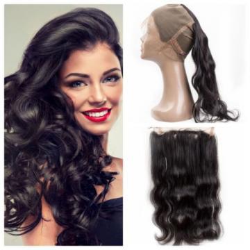 360 Lace Frontal Closure 7A Brazilian Virgin Human Hair Body Wave Natural Black