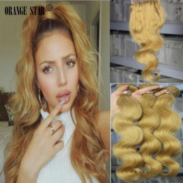 7A Brazilian Virgin Human Hair 3 Bundles With 27# Golden Blonde 4x4 Lace Closure