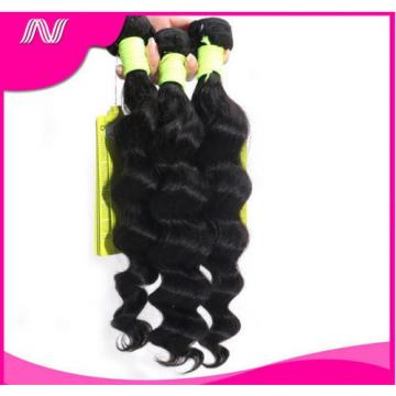 100% 6A Unprocessed Virgin Brazilian loose  wave Hair Natural Black bundles 100g