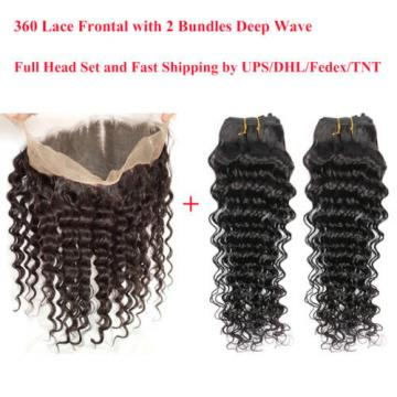 8A Brazilian Virgin Hair 360 Lace Frontal Closure with 2 Bundles Deep Wave