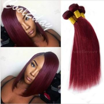 3 Bundles Brazilian Virgin Human Hair Straight Red Wine Burgundy 99J Weave Weft
